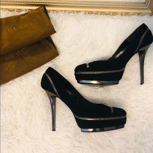 Gucci zipper black suede pumps